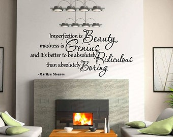 "Imperfection is Beauty Marilyn Monroe Quote Vinyl Wall Decal Sticker Art 60"" X 27"""
