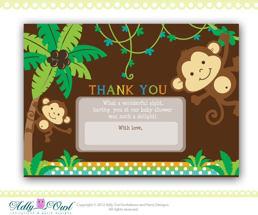 Jungle Monkeys Baby Shower Thank You Card Printable Diy Party