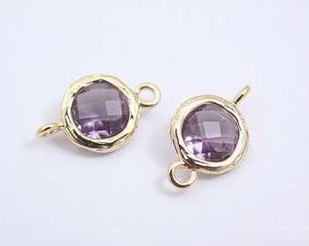 S040- 20PCS -  Gold plated -Amethyst -Glass