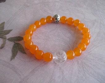 Amazing carved quartz & orange topaz bracelet