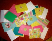 12 Bright Colored Button Flower Blank Cards