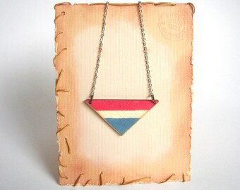Nautical Triangle Necklace, Wood Geometric Necklace,Geometric Jewelry