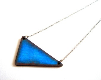 Cobalt Blue Triangle Necklace, Wood Geometric Necklace,Geometric Jewelry