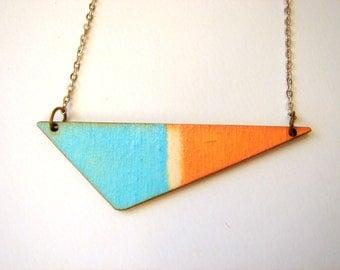 Geometric Necklace, Wood Triangles Necklace,Wood Mint Necklace,Geometric Jewelry