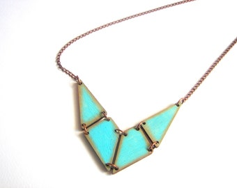 Mint  Blue Geometric Necklace, Wood Triangles Necklace,Geometric Jewelry