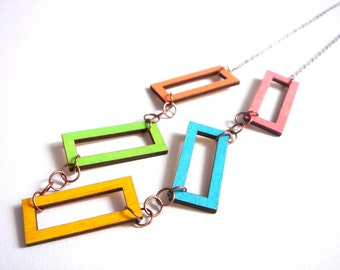 Neon Geometric Necklace, Wood  Necklace,Geometric Jewelry