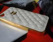 Custom White Leather CC sign gold sides iphone 4 case iphone 4s case iphone hard case iphone cover case handmade