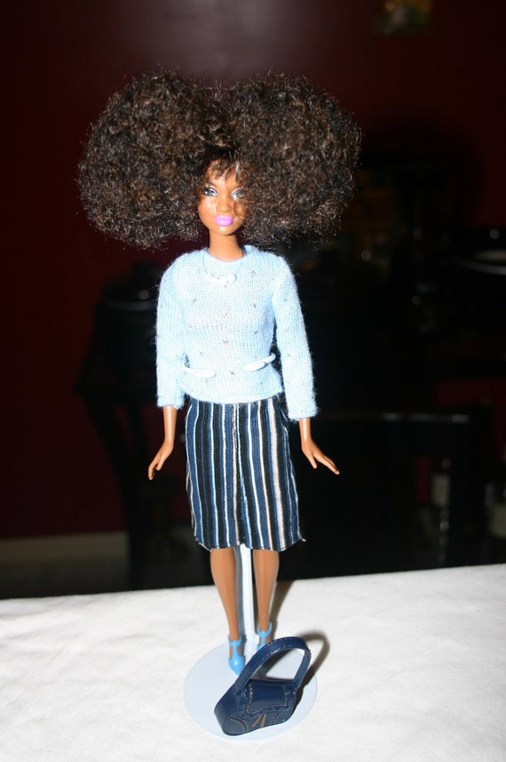 african american barbie doll natural hair style afro puffs