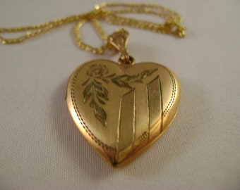Vintage GF Heart Locket and Chain, Gold Locket, Sale  NOW 99.00 WAS 125.00