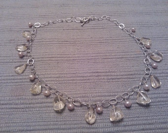 Dancing citrine and freshwater pearls necklace 925 Sterling Silver chain