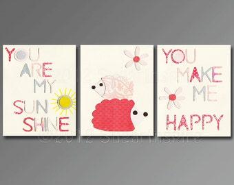 You are my sunshine ,Nursery Art Print Set, 8x10, Kids Room Decor, Baby/Children Wall Art - Hedgehogs, Flower, Grey and pink