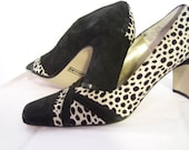 Black and Ivory Suede  Women's High Heels Pumps Leopard / Cheetah / Dalmatian /Jungle Print /  Quality Leather Size 11 Medium