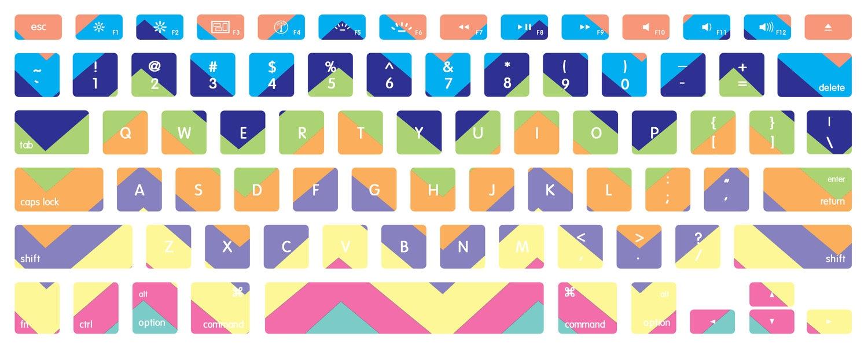 Macbook Pro Keyboard Skin Bright Pastel Chevron ...