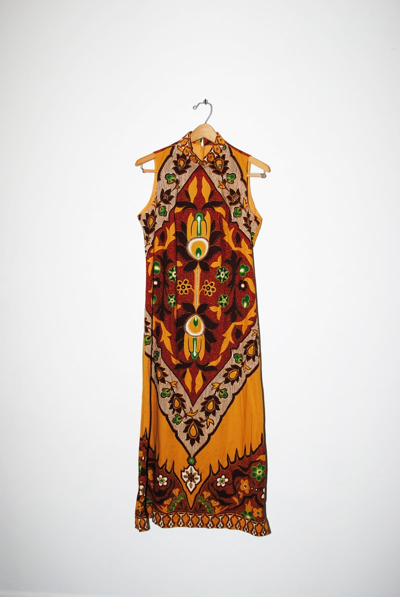 Vintage 60s dashiki print maxi dress m l by lunamarket on etsy