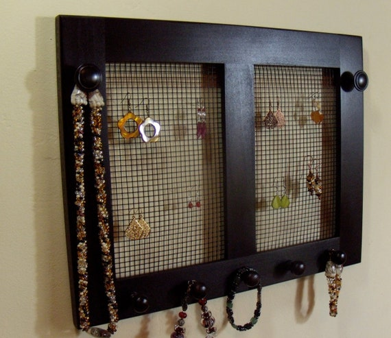 items similar to jewelry holder earring holder necklace holder wall mounted jewelry holder. Black Bedroom Furniture Sets. Home Design Ideas