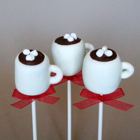 12 Hot Chocolate or Coffee Mug Cake Pops - for snow days, winter party favors, hostess or teacher gift, stocking stuffers, Santa