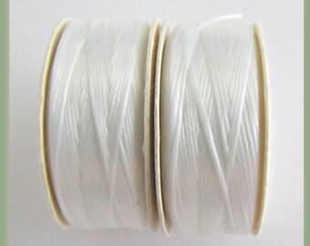 White Thread,  size D Bobbin, Nymo Seed Beading, Nylon Beading Thread, White Bobbins, Beadweaving Thread, Sewing Thread, Item #119