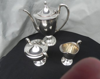 Antique Coffee Set Silver Plate Coffee Pot LargeCreamer SugarBowl  Early 1900's Pattern 7016