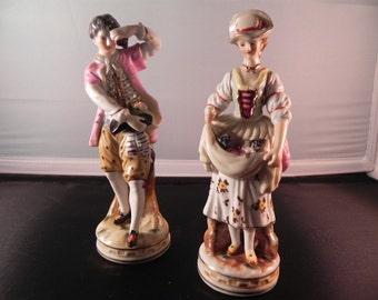 Vintage Occupied Japan Figurines Porcelain  Couple Vineyard Pickers