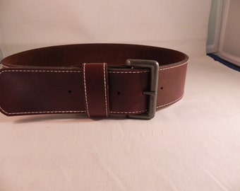 Vintage Belt Brown Leather  Two Inches Wide 1989