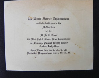 Vintage USO Invitation WWII 1943  to Dedicate New Club in Erie.PA
