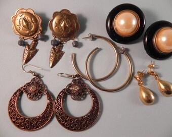 Vintage Earrings Four Pairs Pierced and One Pair Clip Earrings