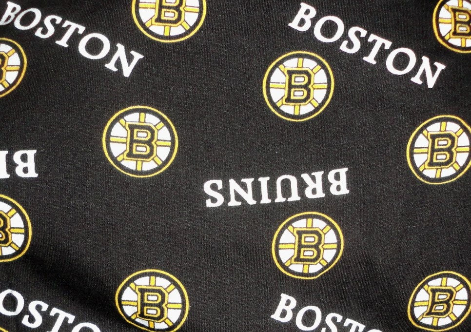 Boston Bruins Cotton Fabric Remnant For Sports Crafts Two