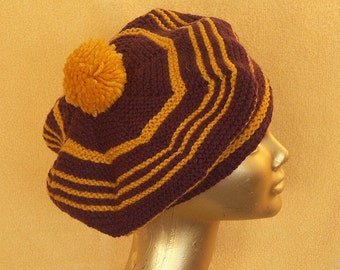SALE   Purple.Hi-yellow Wheel: a classic beret