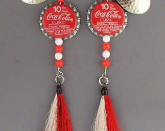 Coke bottle cap fishing lures, Set of  spinners with bucktail dressed hooks