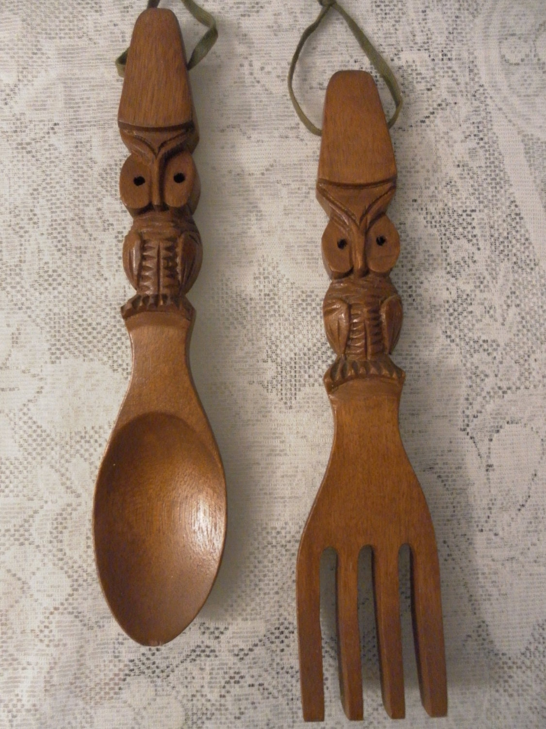 vintage owl wooden spoon and fork handmade by lovelyvintagegirl. Black Bedroom Furniture Sets. Home Design Ideas