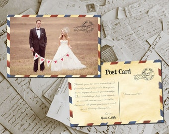 "50 Wedding Thank You Card - Airmail II Vintage Photo Personalized 4""x6"""