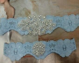 Wedding Garter, Bridal Garter, Garter Set - Something Blue Crystal Rhinestone - Style G2058