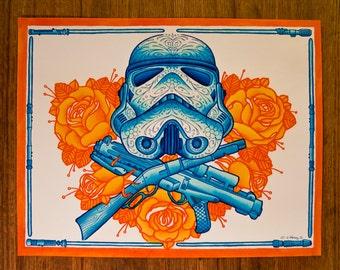 "Star Wars, Stormtrooper, Day of the Dead Sugar Skull (Dia De Los Muertos) 11 x 14"""
