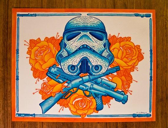 Star Wars Stormtrooper Day Of The Dead Sugar Skull Dia De