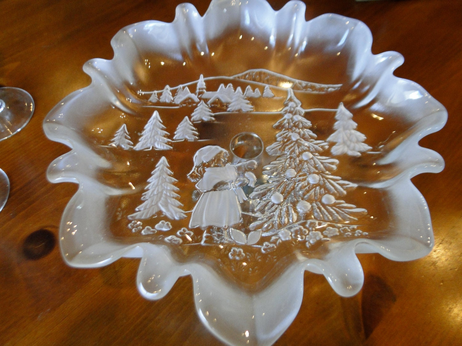 Decorative christmas holiday candy dish serving piece