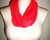 Vintage Salmon Colored Banner Scarf W/ Ruffled Edges