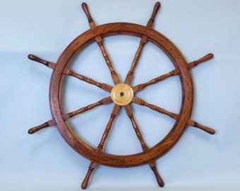 "Decorative Ship Wheel 30"" Wood and Brass Nautical Wall Decoration / Coastal Living Decor"