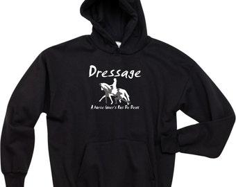 Dressage A Horse Lover's Pas de Deux Black Hooded Sweatshirt