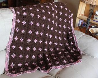Pink and Brown Afghan Crochet Throw blanket or Baby Blanket