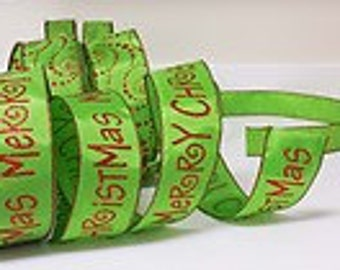 "Lime Green ""Merry Christmas"" Wired Ribbon, 2.5"""