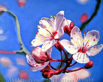 "Acrylic painting art  ""Sakura"" Japanese cherry blossoms"