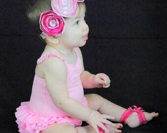 Two tone pink flower headband
