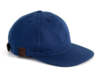 Navy Blue Baseball Hat, 6 Panel Canvas Cap Leather Snapback, Ball Hat Made in the USA