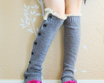 Beautiful Birthday gift for her.Gray  leg warmers,Cute lacy leg warmers,warm boots long cuffs with cream lace