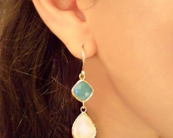 Gold Vermeil Earrings in Mint & Pink Shadow Opal. Chandeliers. Azaliya Luxury Line. Bridal, Bridesmaid Jewelry. Gifts.