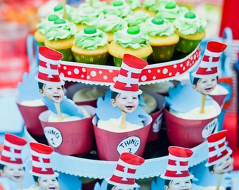 Red and white birthday hat cupcake toppers 1