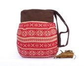 Red Geometric Tote Messenger Bag Bohemian Ethnic Bag