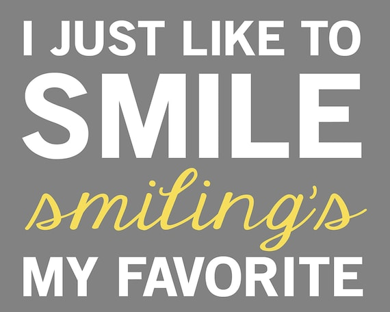 Elf Quote - Smiling's My Favorite - 8x10 - Gray, White, Yellow, Green, Red