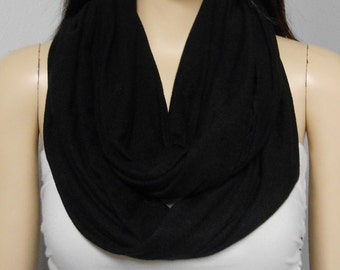 Black  Infinity Scarf SUPER SOFT Jersey  Knit Gift Ideas