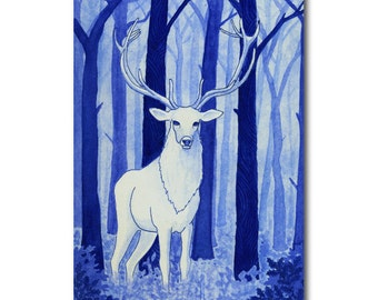 greeting card with white deer in blue winter forest